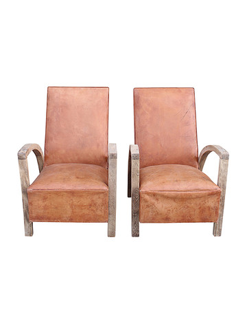 Pair of Mid Century French Leather Arm Chairs 36744