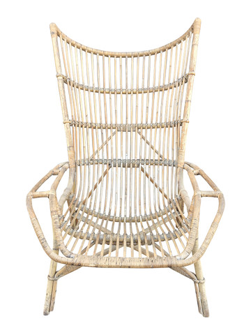Single French Rattan Arm Chair 32834