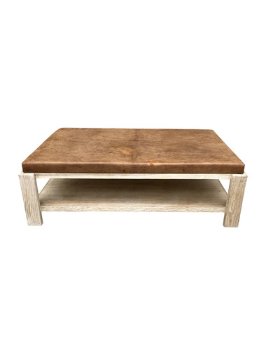 Limited Edition Oak and Vintage Leather Coffee Table 35330