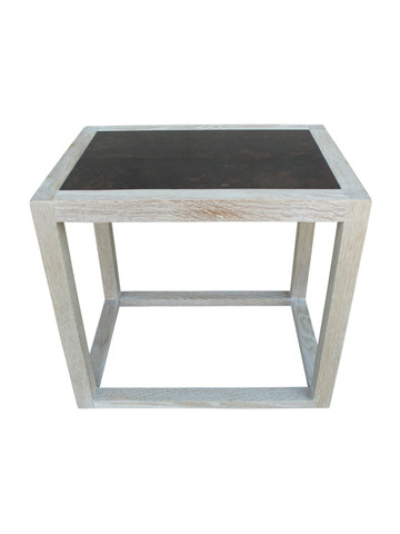 Lucca Limited Edition Oak and Parchment Top Side Table 30792