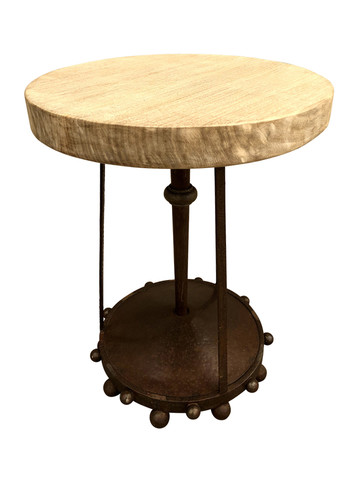 Belgian Oak and Iron Side Table 35880