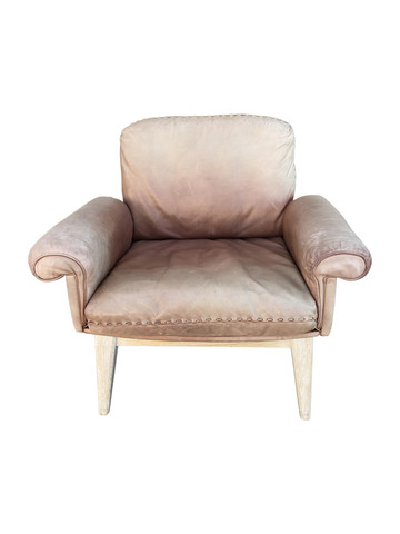 Limited Edition DeSede Vintage Leather and Oak Arm Chair 38178