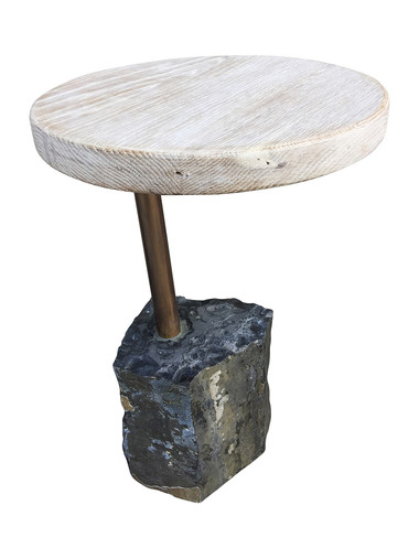 Limited Edition Stone and Oak Side Table 33218