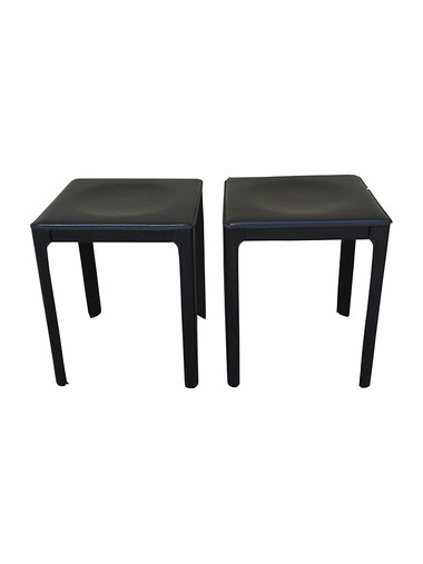 Pair of Matteo Grassi Black Leather Stools 29890