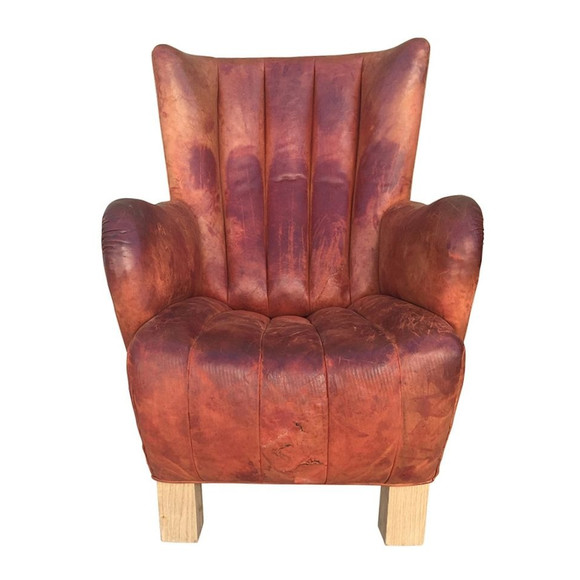 Single French Leather Arm Chair 32254