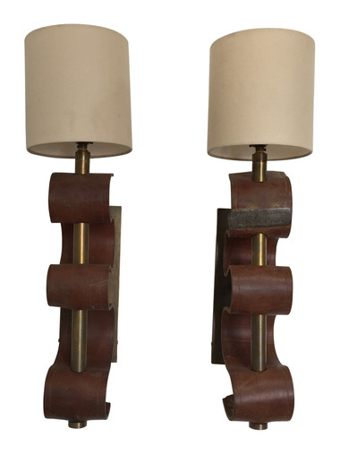 Pair of Bronze and Vintage Leather Sconces 36063