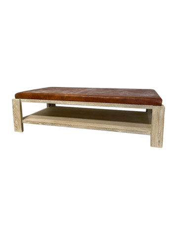 Limited Edition Oak and Vintage Leather Coffee Table 36935