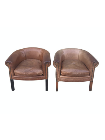 Pair of Vintage English Leather Club Chairs 37506