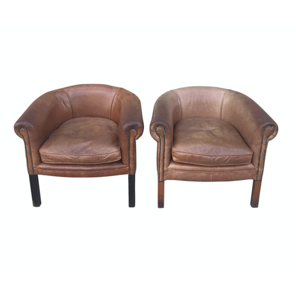 Pair of Vintage English Leather Club Chairs 38139