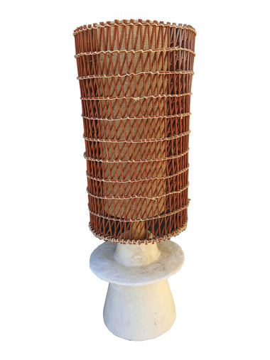 French Plaster Base and Woven Rattan Shades 33527
