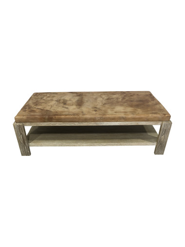 Limited Edition Oak and Vintage Leather Coffee Table 37195