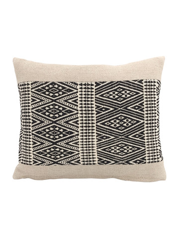 Limited Edition Tribal Black and Natural Embroidery Pillow 34209