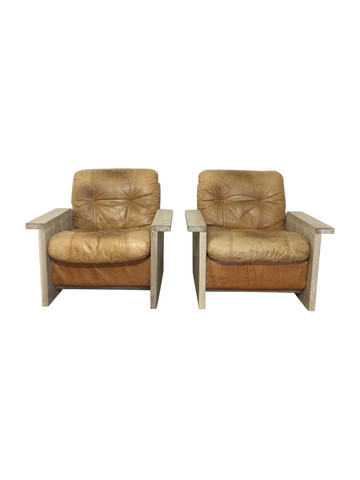 Limited Edition Vintage Leather and Oak Arm Chairs 36947