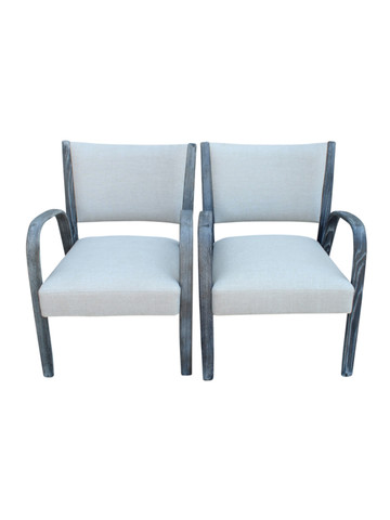 Pair French Mid Century Arm Chairs 32068