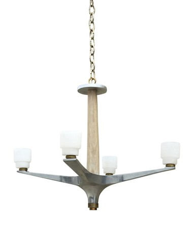 Limited Edition Polished Aluminium and Oak Chandelier 38095