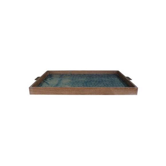 Limited Edition Oak And Vintage Marbleized Paper Tray 24309