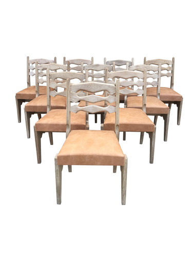 Set of (10) French Guillerme & Chambron Dining Chairs 34594
