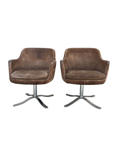 Pair of Vintage Brown Suede Dining Chairs 37356