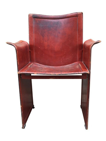 Single Vintage Matteo Grassi Leather Arm Chair 35089