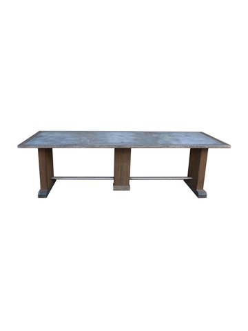 19th Century Belgian Zinc and Oak Dining Table 25924