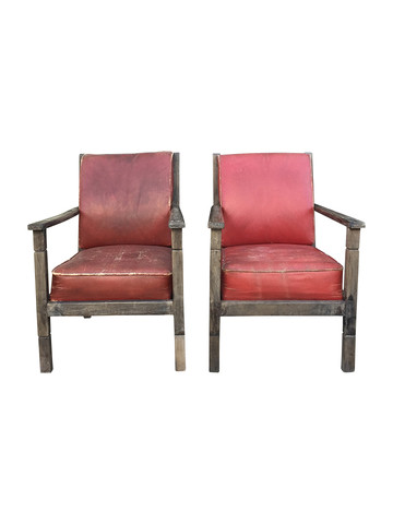 Pair of French Red Leather Armchairs 34383