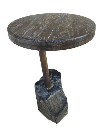 Limited Edition Stone and Oak Side Table 32757