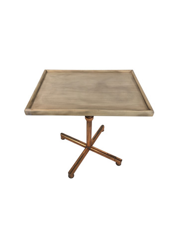 French Oak and Copper Base Side Table 17537
