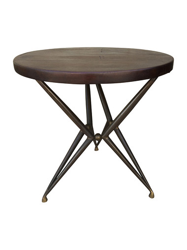 Limited Edition Iron Base and Wood Top Side Table 32559