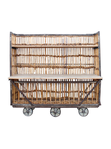 Belgian Rattan and Wood Cart 33822