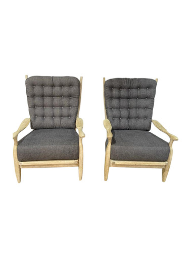 Pair of Guillerme et Chambron Cerused Oak Armchairs 36647