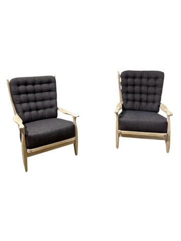 Pair of Guillerme et Chambron Cerused Oak Armchairs 37308