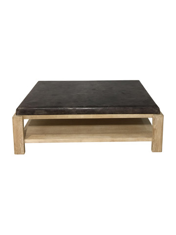 Limited Edition Vintage Leather Top Oak Coffee Table 36279