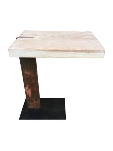 Limited Edition Iron Element and Oak Top Side Table 33763