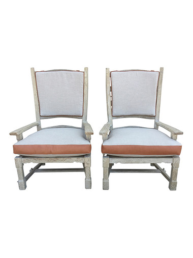 Pair of French Ladder Back Oak Arm Chairs 30736