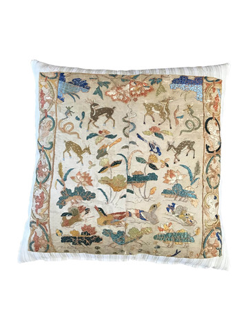 Rare French 18th Century Silk Embroidery Textile Pillow 34828