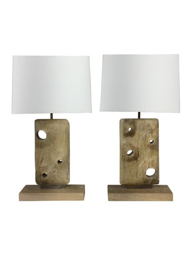 Limited Edition Pair of Organic Wood Lamps 37219