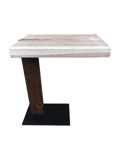 Limited Edition Industrial Iron Element and Oak Top Side Table 33762