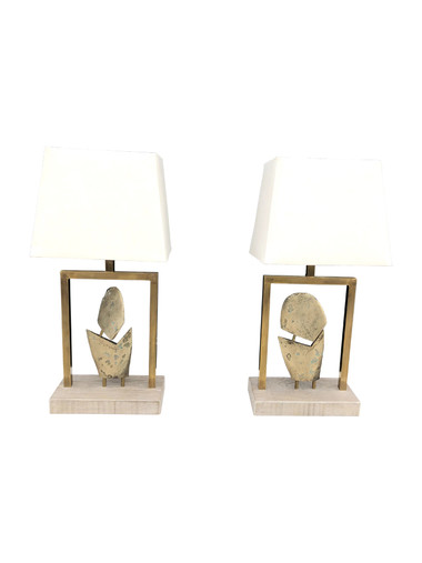 Pair Limited Edition Bronze Element Lamps 34729