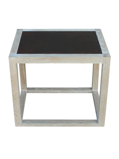 Lucca Limited Edition Oak and Parchment Side Table 32563