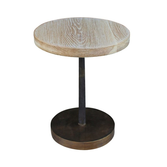 Limited Edition Metal and Oak Side Table 23474
