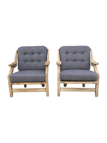 Pair of Guillerme et Chambron Oak Arm Chairs 36172