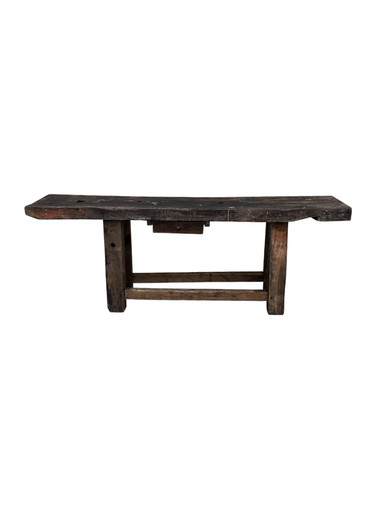 Primitive Belgian 18th Century Wood Industrial Console 35508