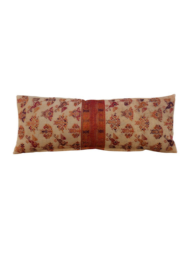 Large Vintage Embroidery Textile Lumbar Pillow 25967