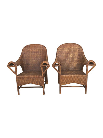 Pair of 1920's French Rattan Arm Chairs 38157