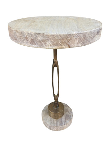 Limited Edition Industrial Iron Element and Oak Top Side Table 33756