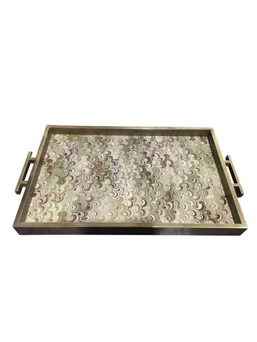 Lucca Limited Edition Marbled Paper & Bronze Tray 24133