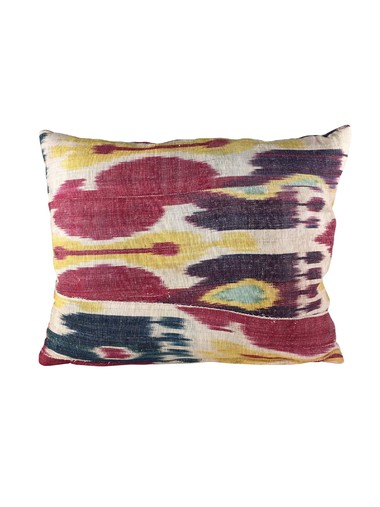 Antique Turkish Ikat Textile Pillow 37327