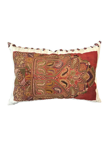 Rare Embroidery on Moroccan Tribal Textile Pillow 35295