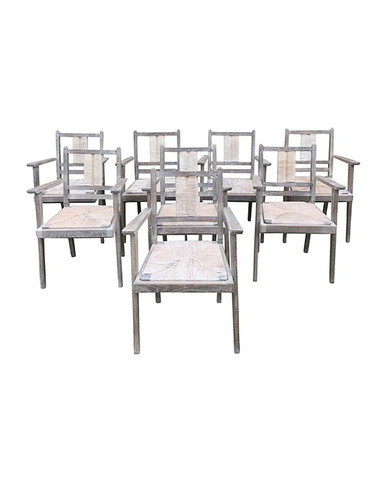 Set of (8) Cerused Oak and Rush Seat Dining Arm Chairs 30376