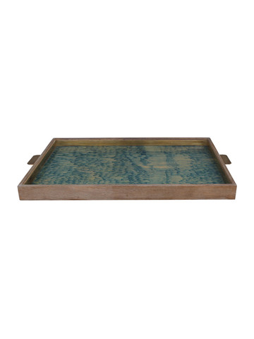 Limited Edition Oak And Vintage Marbleized Paper Tray 31373